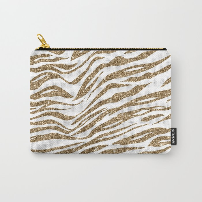 White & Glitter Animal Print Pattern Carry-All Pouch