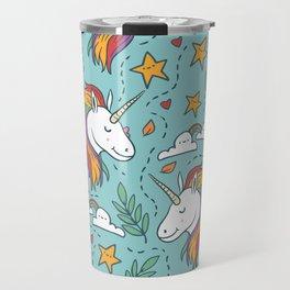 Magical Unicorn Pattern on turquoise background Travel Mug