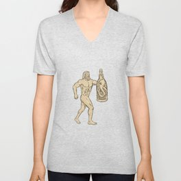 Hercules With Bottled Up Angry Octopus Drawing Unisex V-Neck