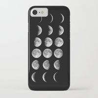 moon phases iPhone & iPod Cases featuring Moon Phases - Hipster Moon Phases by Kris James