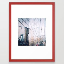 Double Exposed Brooklyn Bridge Framed Art Print