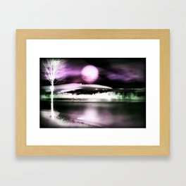 Moon night on the lake 2 Framed Art Print