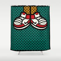air jordan Shower Curtains featuring AIR JORDAN 1 by originalitypieces
