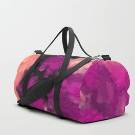 psychedelic splash painting abstract texture in pink purple black Duffle Bag