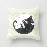 philosophy Throw Pillows featuring Cat Philosophy by Emily Andrus Lopuch
