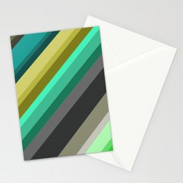 green brown yellow grey stripes Stationery Cards