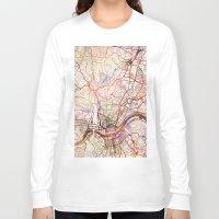 cincinnati Long Sleeve T-shirts featuring Cincinnati by MapMapMaps.Watercolors