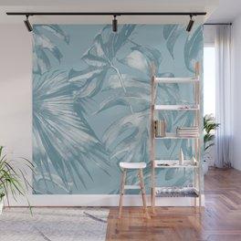 Island Dream Teal Palm Leaves Wall Mural