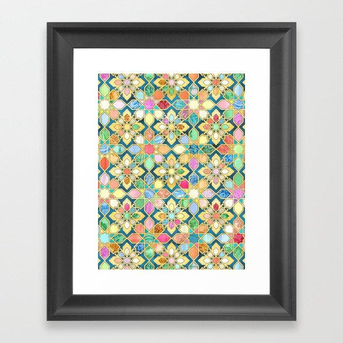 Gilded Moroccan Mosaic Tiles Gerahmter Kunstdruck