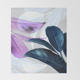 Blue Violet Leaves Throw Blanket