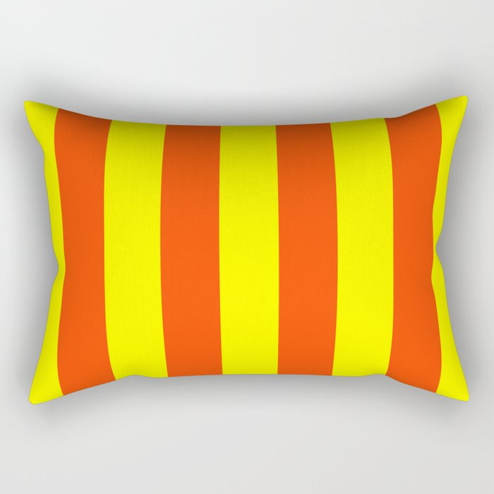 Bright Neon Orange and Yellow Vertical Cabana Tent Stripes Rectangular Pillow