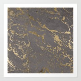 Modern Grey cement concrete gold marble pattern Art Print