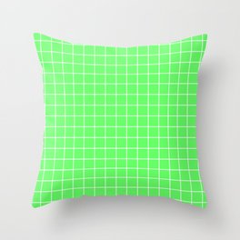 Screamin' Green - green color - White Lines Grid Pattern Throw Pillow