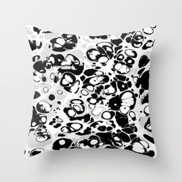 Black white gray ink paint spilled mess splashes platter effect Throw Pillow
