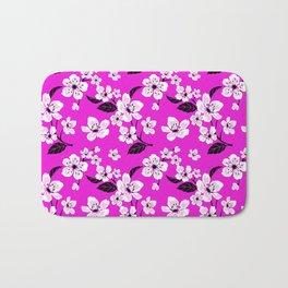 Light Purple & White Sakura Cherry Tree Flower Blooms on Dark Fuchsia Purple Hawaiian Floral Pattern Bath Mat