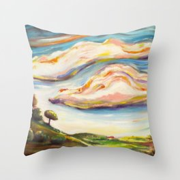 Color clouds in the valey Throw Pillow