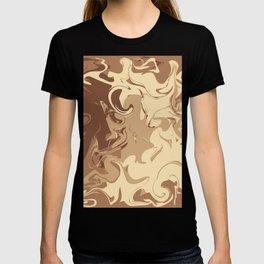 Liquid chocolate pattern on brown T-shirt