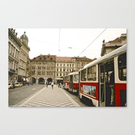Prague Tram Station. Canvas Print