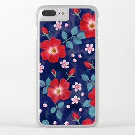 Moody Wild Roses Clear iPhone Case