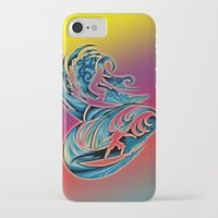 surfing iPhone & iPod Cases featuring Surfing by A Laidig