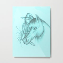 Girl And Horse #society6 #decor #buyart #artprint Metal Print