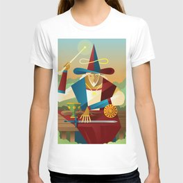 magician juggler with cup, wooden staff, sword and gold tarot card T-shirt