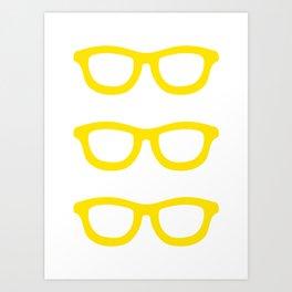 Smart Glasses Pattern - Yellow Art Print