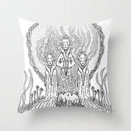 3 witches Throw Pillow