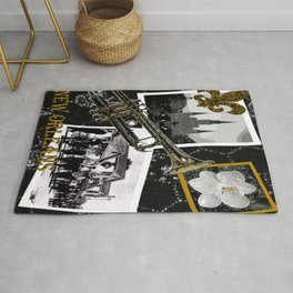 Classic New Orleans Black & white vintage collage Rug