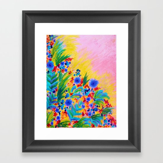 NATURAL ROMANCE in PINK - October Floral Garden Sweet Feminine Colorful Rainbow Flowers Painting Framed Art Print