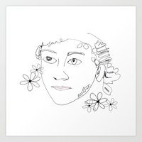 jane austen Art Prints featuring Jane Austen by Skatty k
