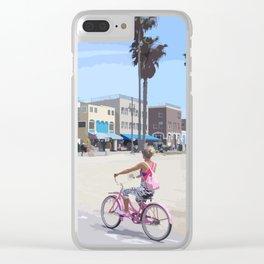 Riding bike in Venice Beach Clear iPhone Case