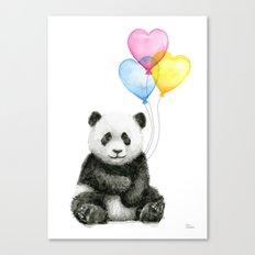 Panda Baby with Heart-Shaped Balloons Whimsical Animals Nursery Decor Canvas Print