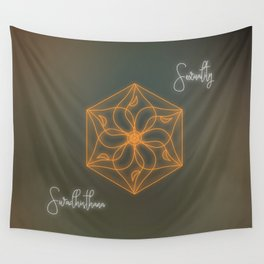 Sacral chakra healing mandala, glowing energy Wall Tapestry