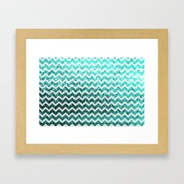 Glitter Sparkly Bling Chevron Pattern (aqua) Framed Art Print