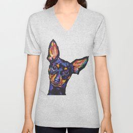 Miniature Pinscher Dog Portrait bright colorful Fun Pop Art Dog Painting by LEA Unisex V-Neck