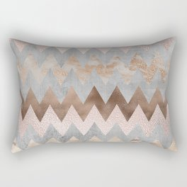 Rose Gold Chevron Glitter Glamour Marble Gem Rectangular Pillow