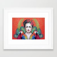 frida Framed Art Prints featuring Frida by alesaenzart
