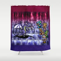 final fantasy Shower Curtains featuring Final Fantasy Bahamut Battle  by likelikes