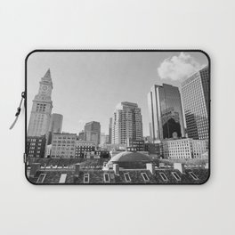 Black & White Boston Skyline II Laptop Sleeve