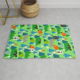 Forest with cute little bunnies and bears Rug