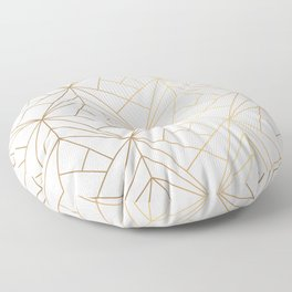 Geometric Gold Pattern With White Shimmer Floor Pillow