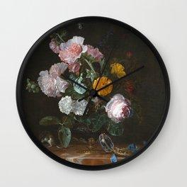 Willem Van Aelst - Vanitas Flower Still Life Wall Clock