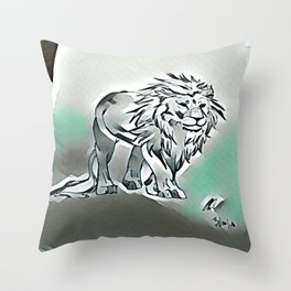 Dark Lion Throw Pillow