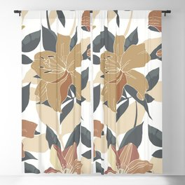 Festive, Floral Prints, Terracotta and Gold, Lillies Blackout Curtain