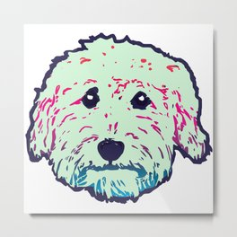 Sweet Doodle dog face in mint/navy - Goldendoodle, Labradoodle, Aussiedoodle Metal Print