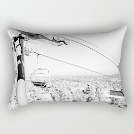 Chairlift // Mountain Ascent Black and White City Photograph Rectangular Pillow