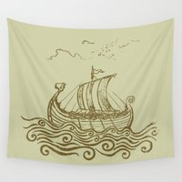 viking Wall Tapestries featuring Viking ship by mangulica illustrations