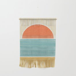 Sun Beach Stripes - Mid Century Modern Abstract Wall Hanging