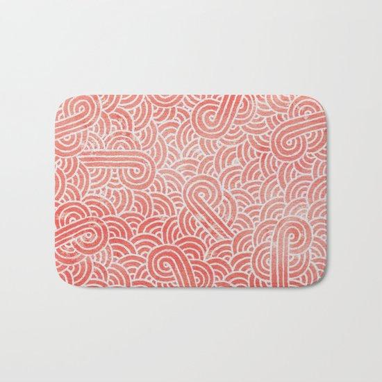 Peach echo and white swirls doodles Bath Mat
